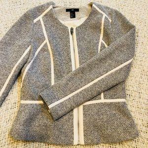 H & M Grey & White Lined Blazer w/ Zip